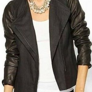 Vince. Leather Linen Black Jacket asymmetrical zip